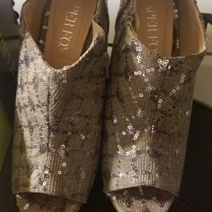 Pewter/sequin spike heels